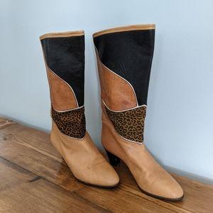 Vintage Bally Leather Animal Print Heeled Boots
